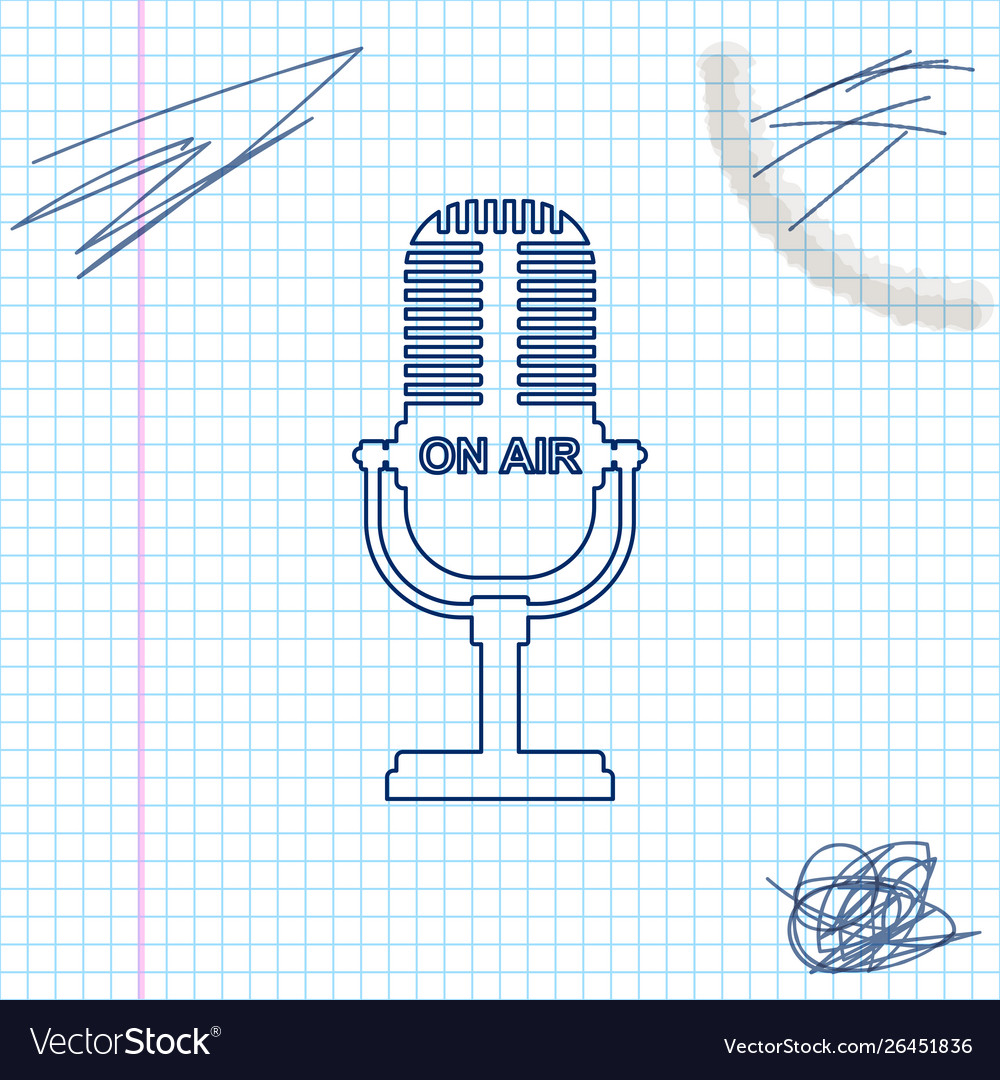 Microphone line sketch icon isolated on white