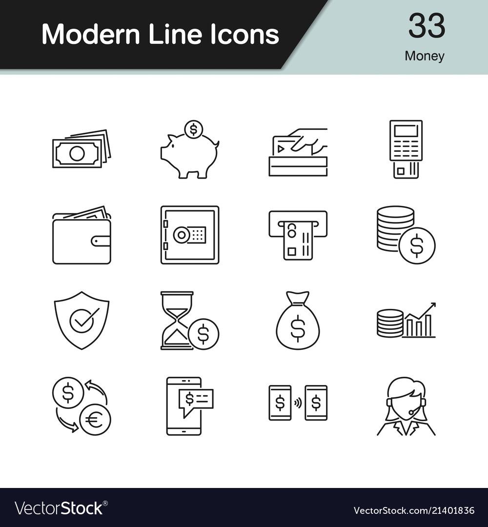 Money icons modern line design set 33