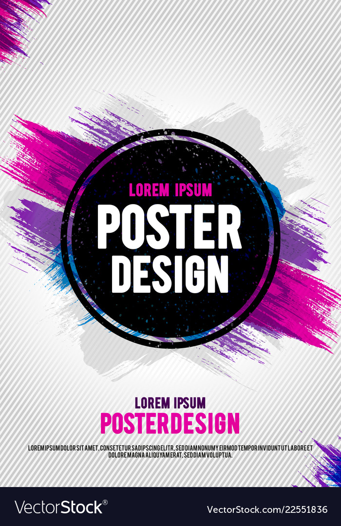Poster design template with grunge brush paint