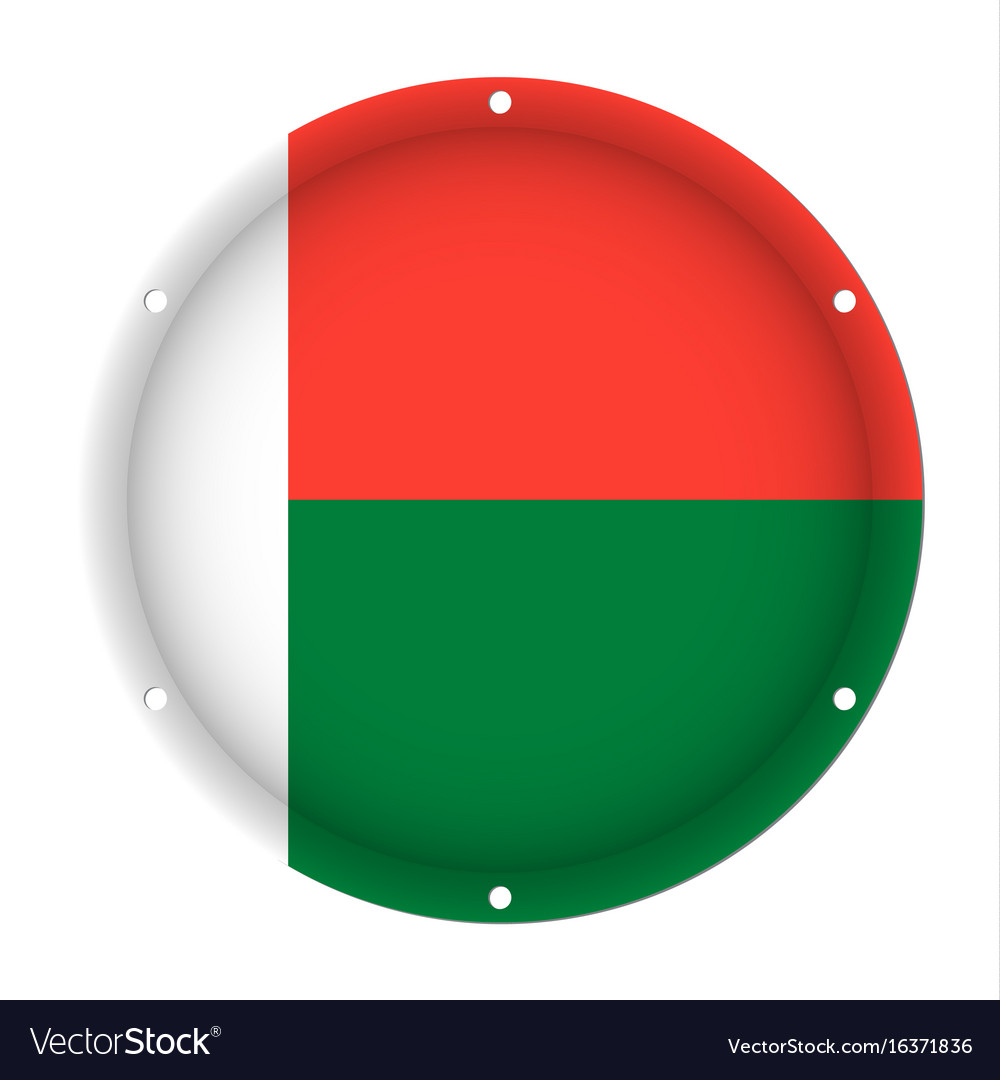 Round metallic flag of madagascar with screw holes