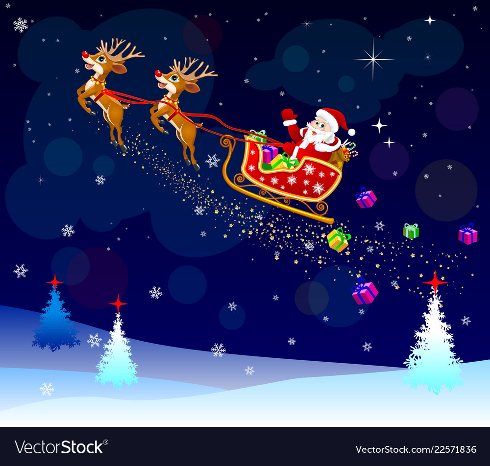 santa with gifts on his sleigh royalty free vector image