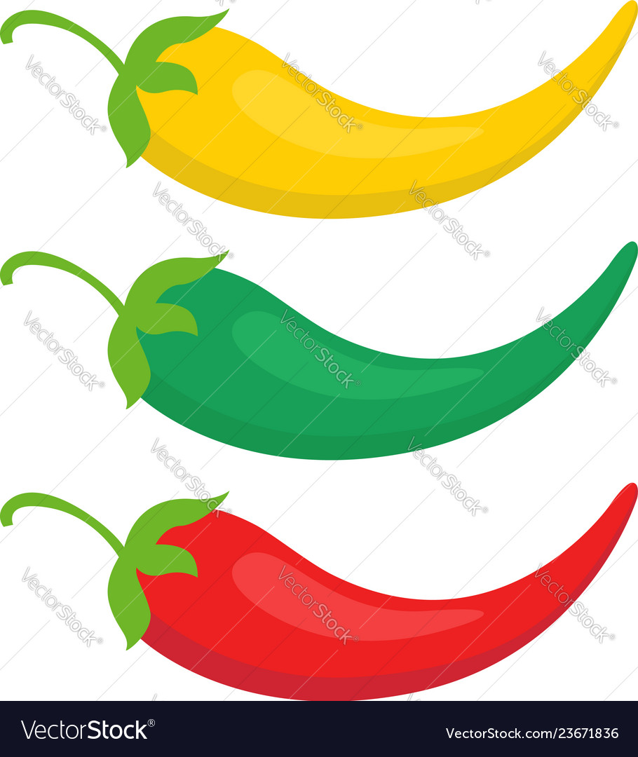 Set color chili pepper icon yellow green and