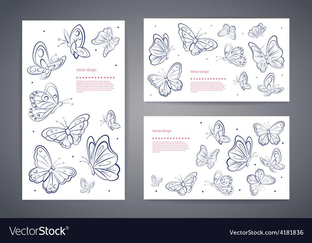 Set of butterfly business cards Royalty Free Vector Image