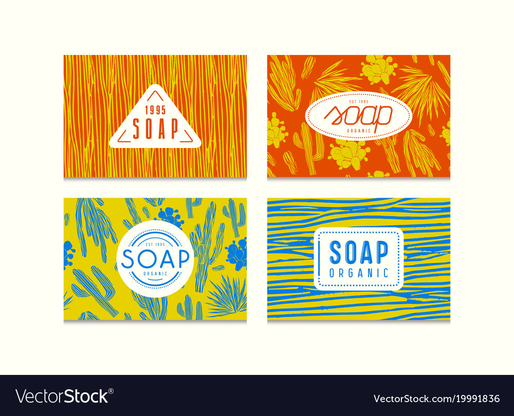 Set of seamless pattern and labels for soap