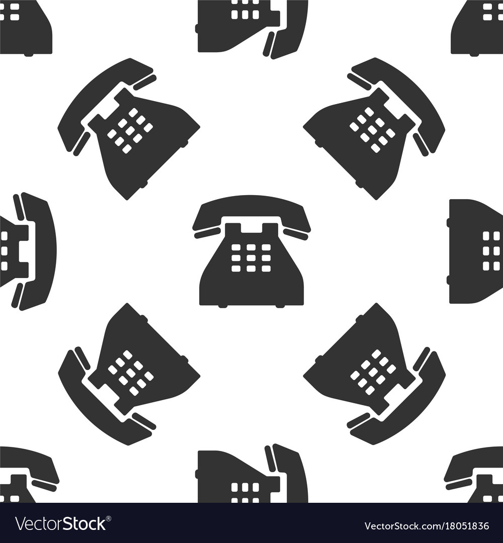 Telephone icon seamless pattern landline phone