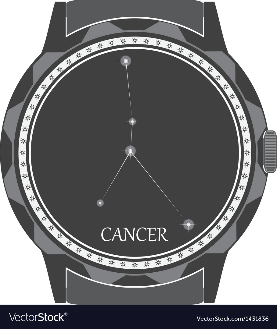The watch dial with the zodiac sign Cancer