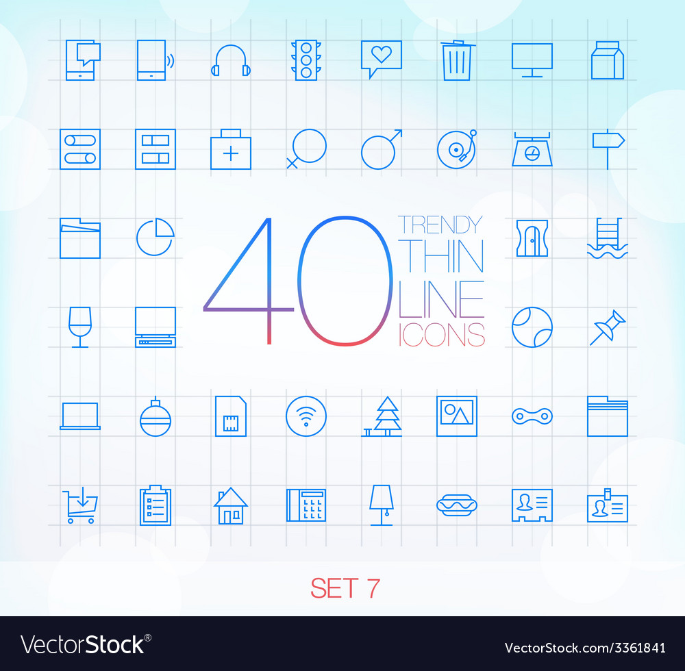 40 Trendy Thin Icons for web and mobile Set 8