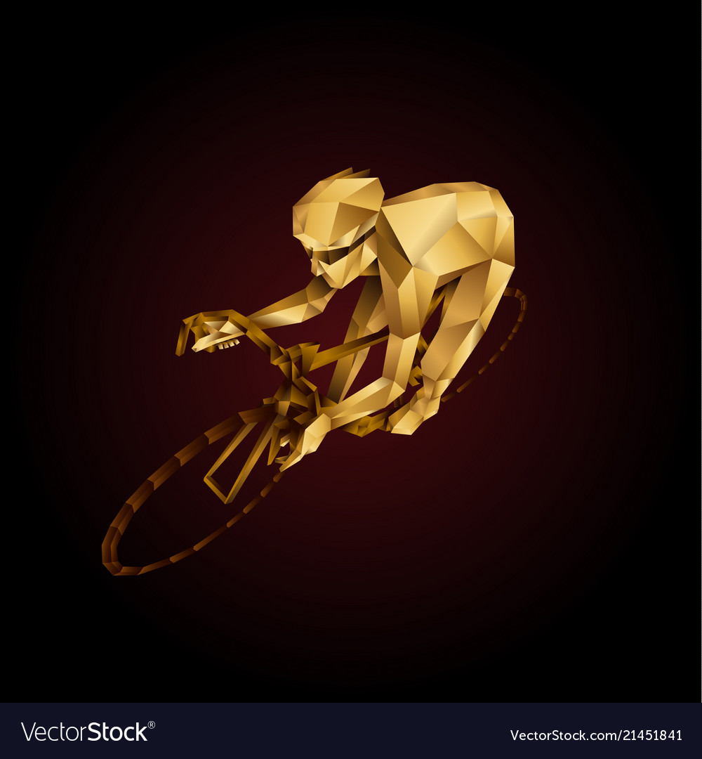 Abstract golden polygonal cyclist