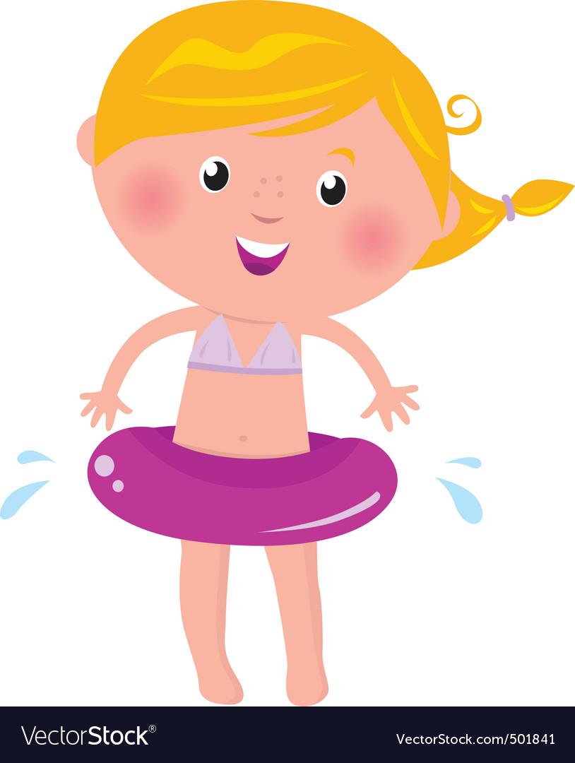 Cartoon child swimming