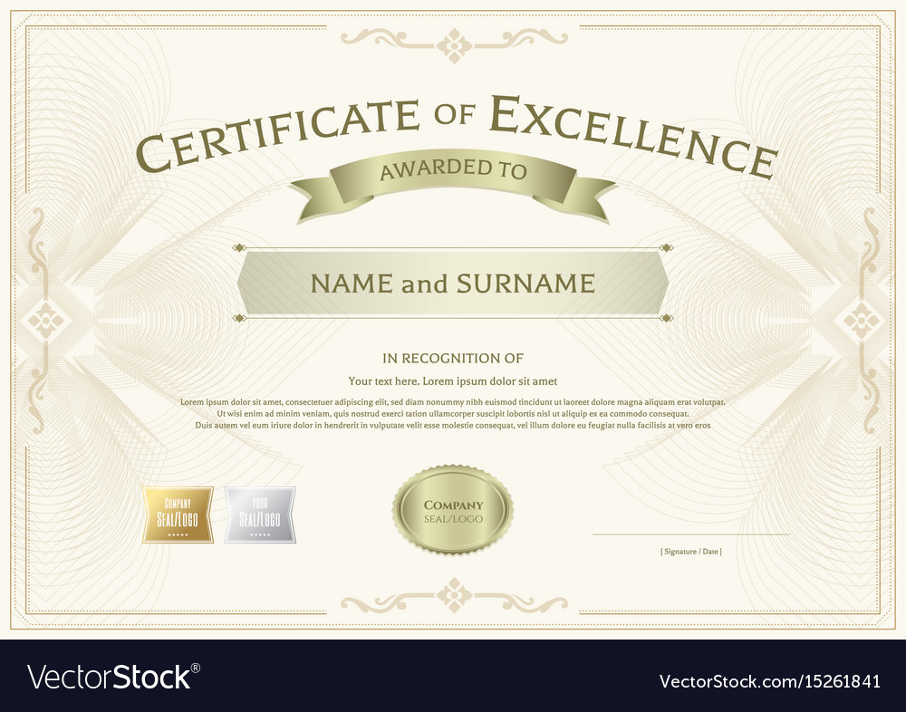 excellence certificate award template vector