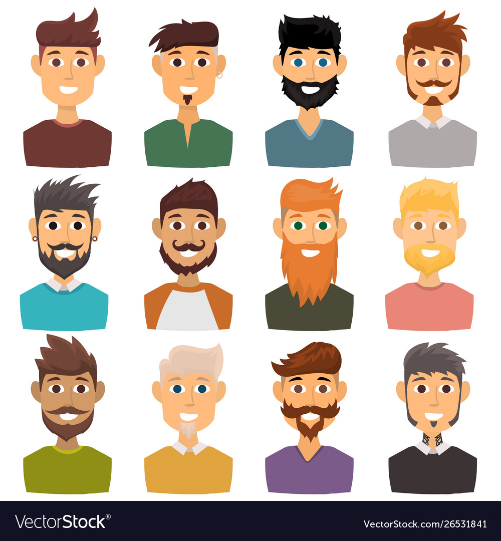 Character various expressions bearded man face
