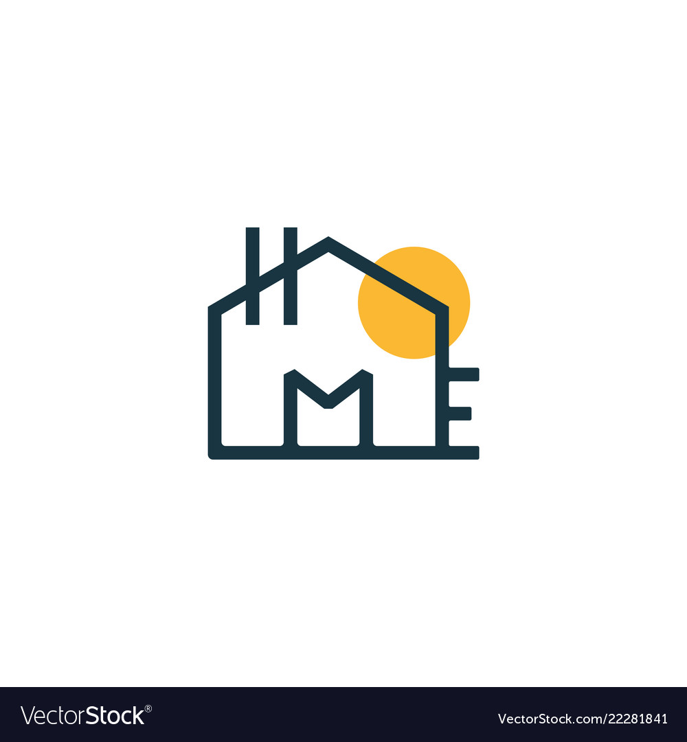 Creative text home smart logo detailing with sun