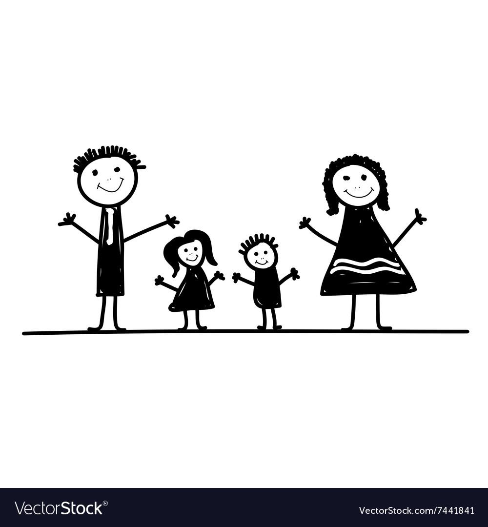 Family Cartoon In Black Royalty Free Vector Image