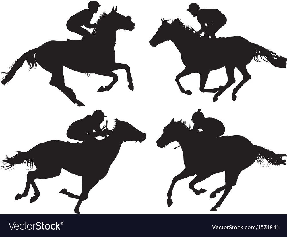 Horse Racing Silhouette Vector Image