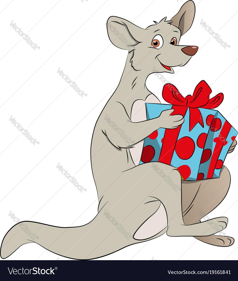 Kangaroo holding a giftbox