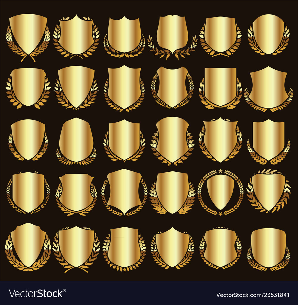 Medieval golden shields and laurel wreaths