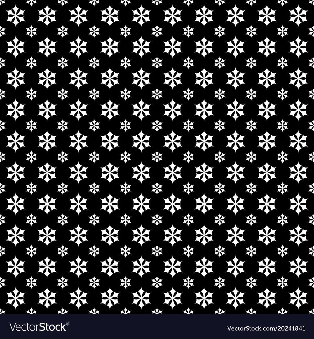 Monochrome seamless stylized snowflake pattern
