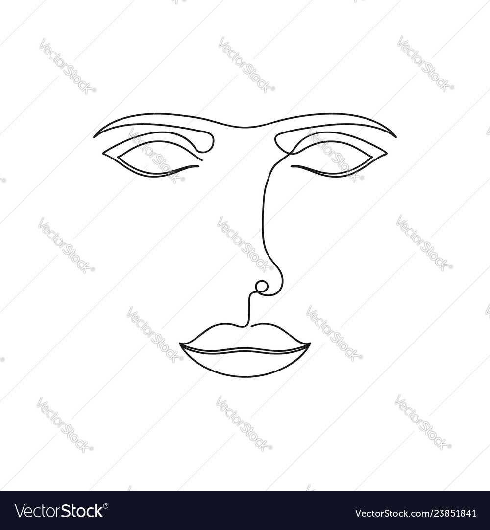 One line abstract face continuous line drawing of