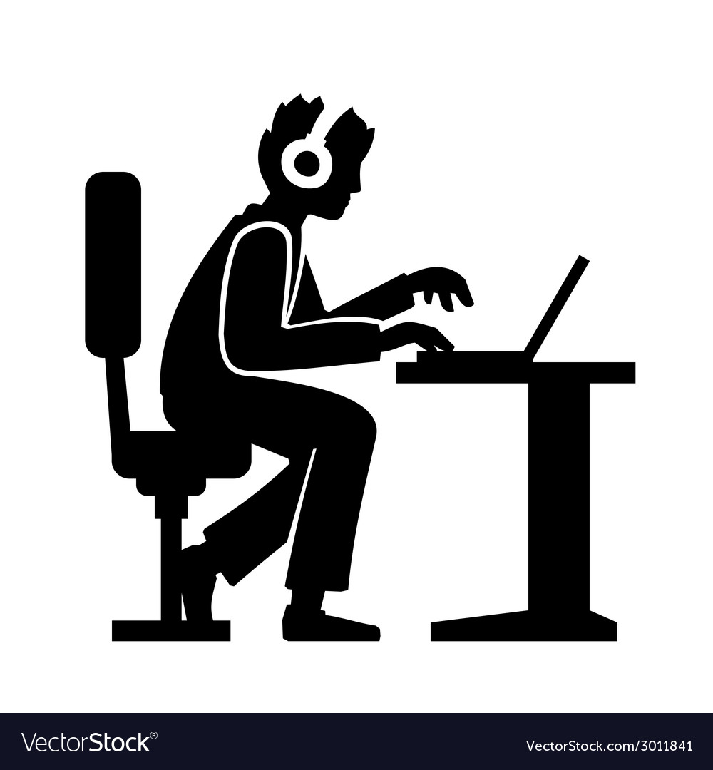 Programmer Silhouette Working on His Computer vector image