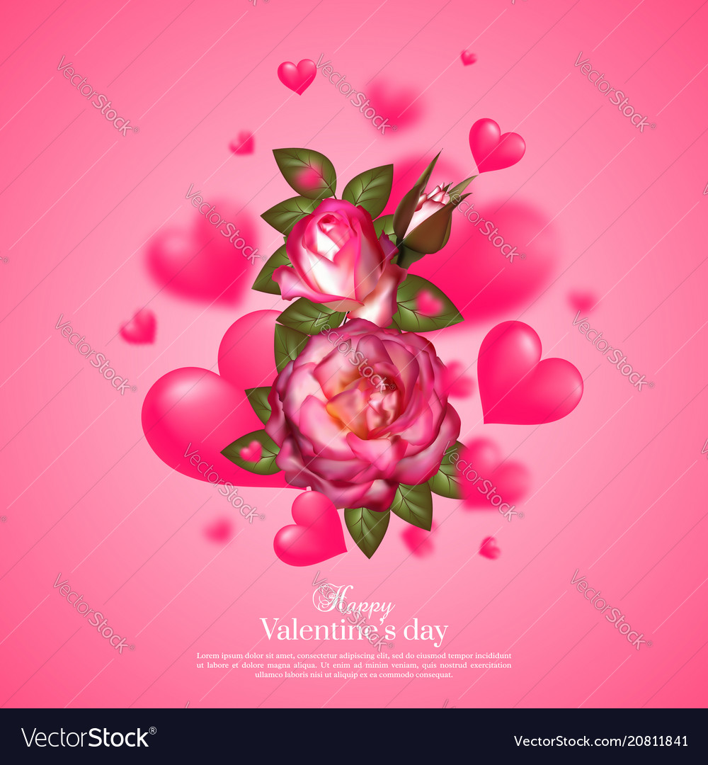 Realistic 3d floral valentines day card