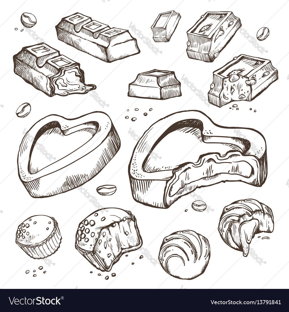 Set of sketches bitten chocolates sweet
