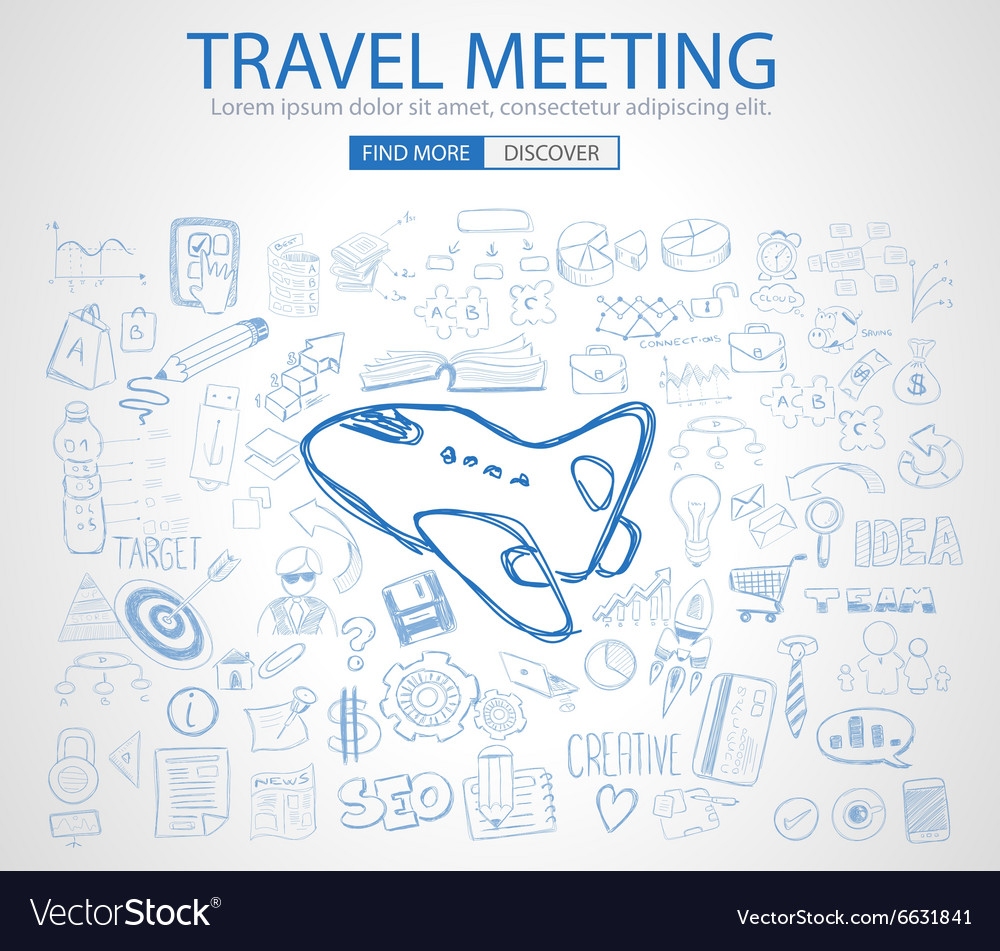 Sketch concept TravelMeeting b vector image