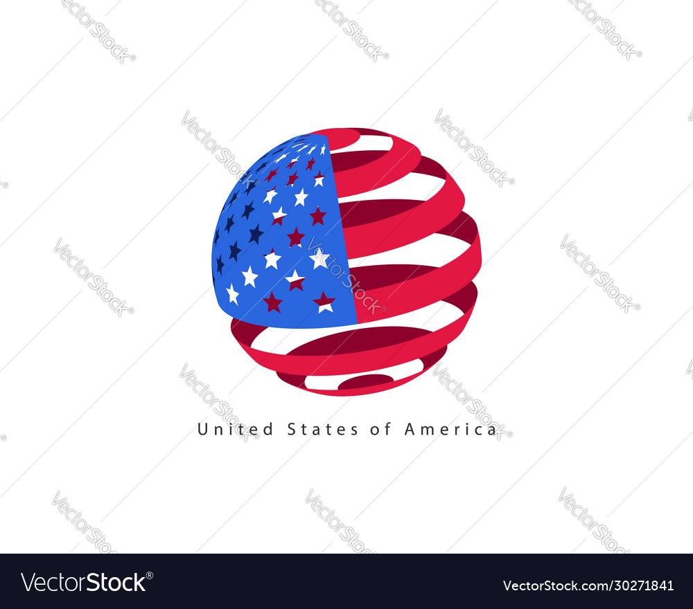 Usa flag style design element logo template