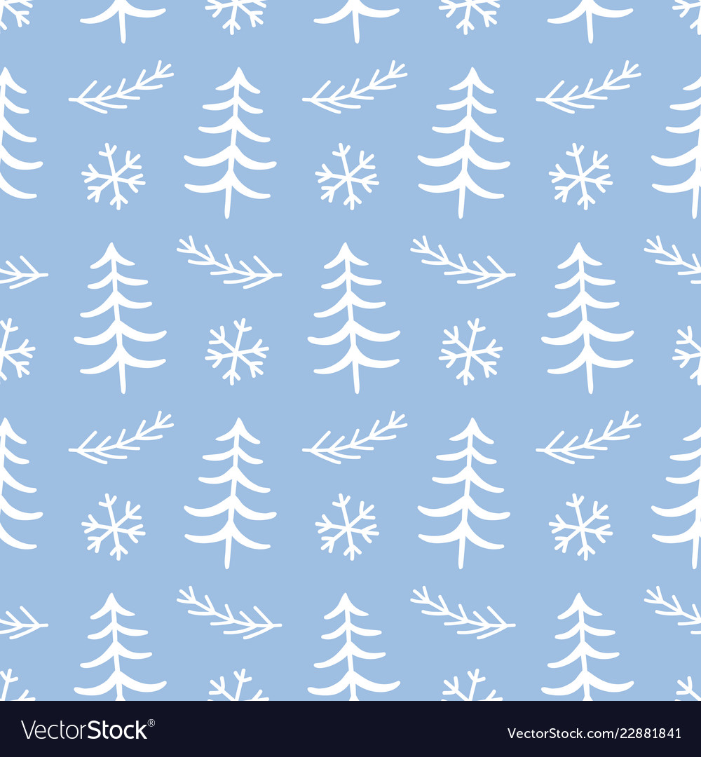 Winter forest tree doodles seamless pattern
