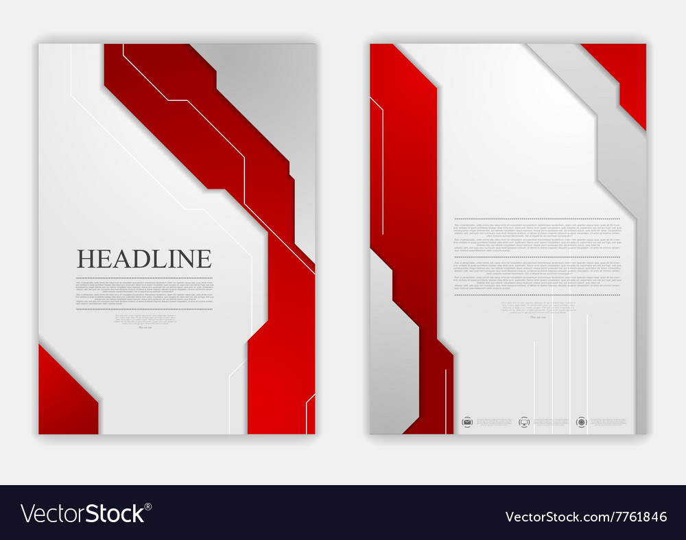 abstract red grey geometric tech flyer design vector image