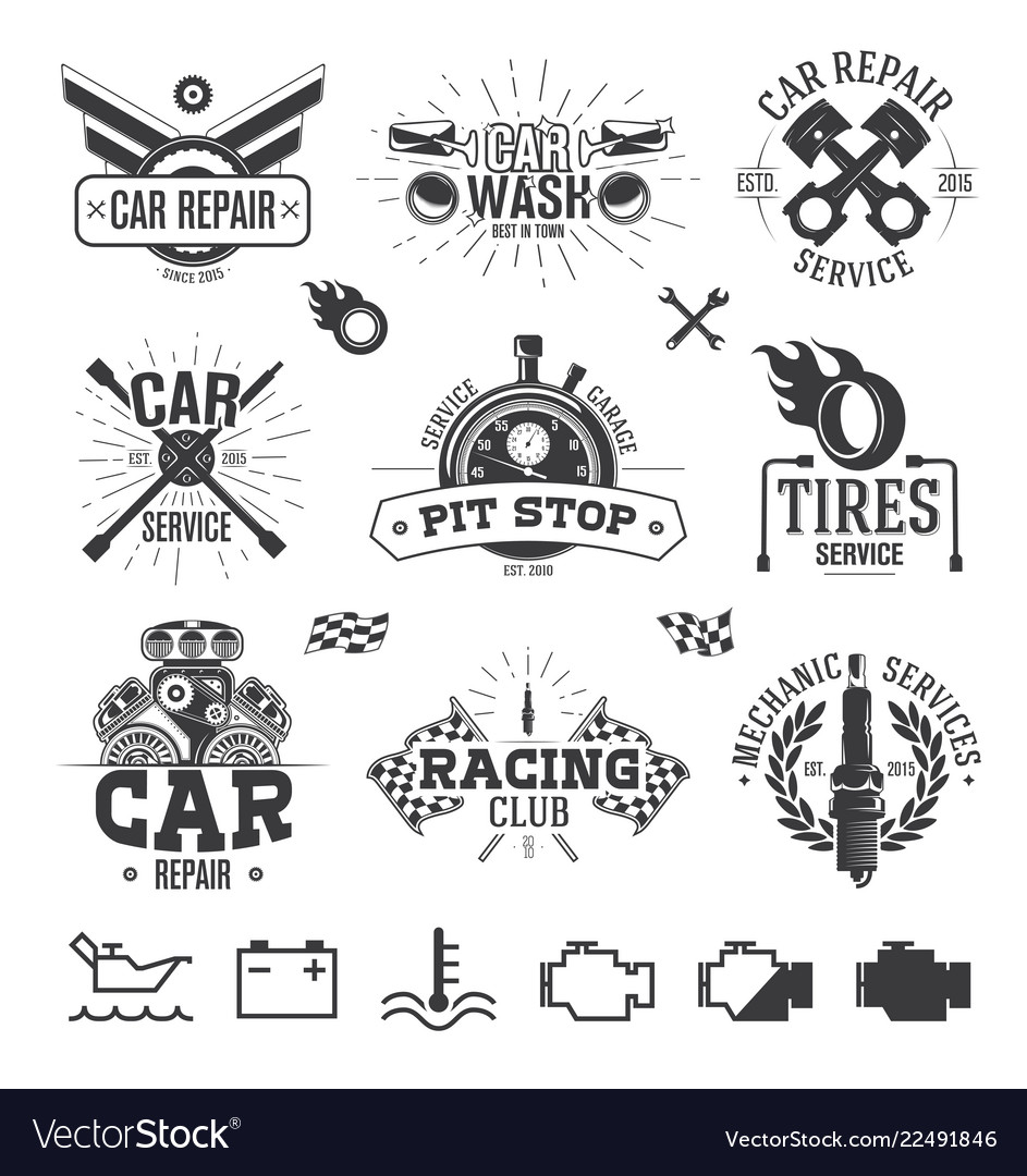 Car service labels emblems and logos
