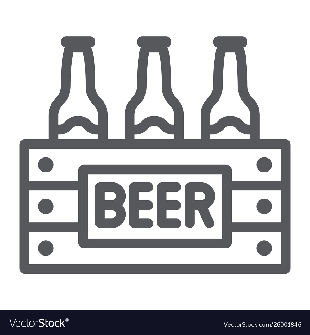 Case beer line icon alcohol and drink pack of