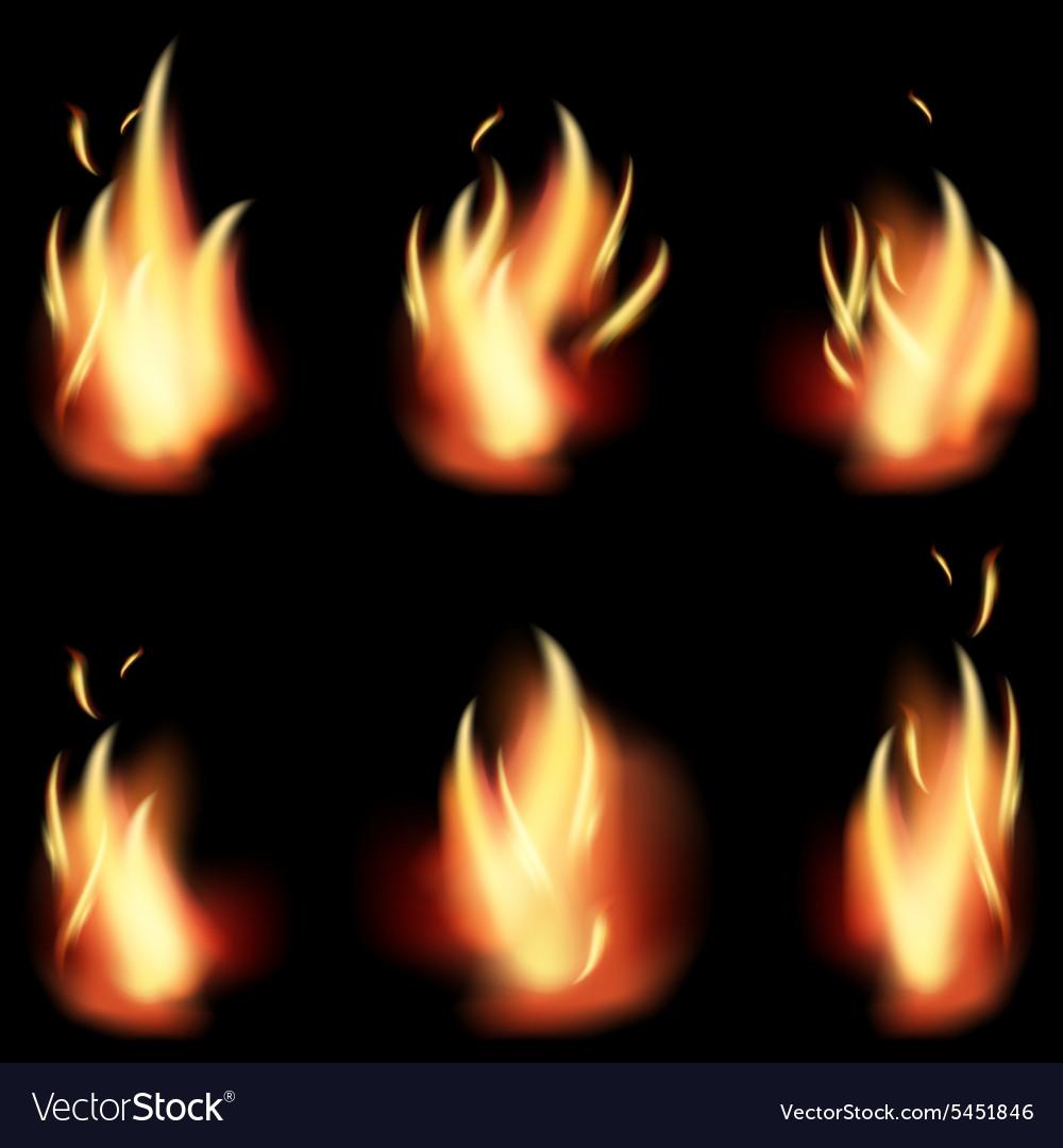 Fire flame set on black background