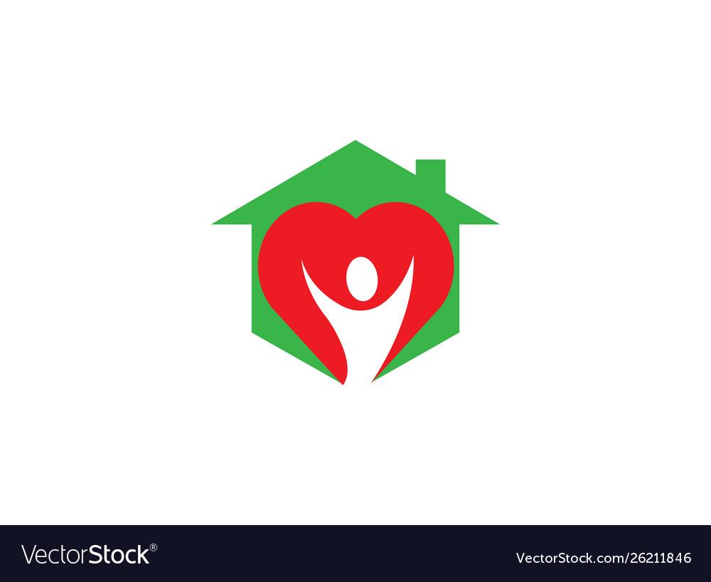 Heart care body in heart logo design