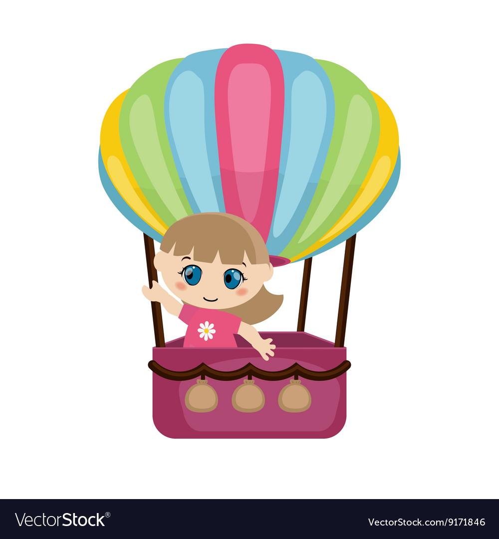 Little girl flying in a hot air balloon vector image