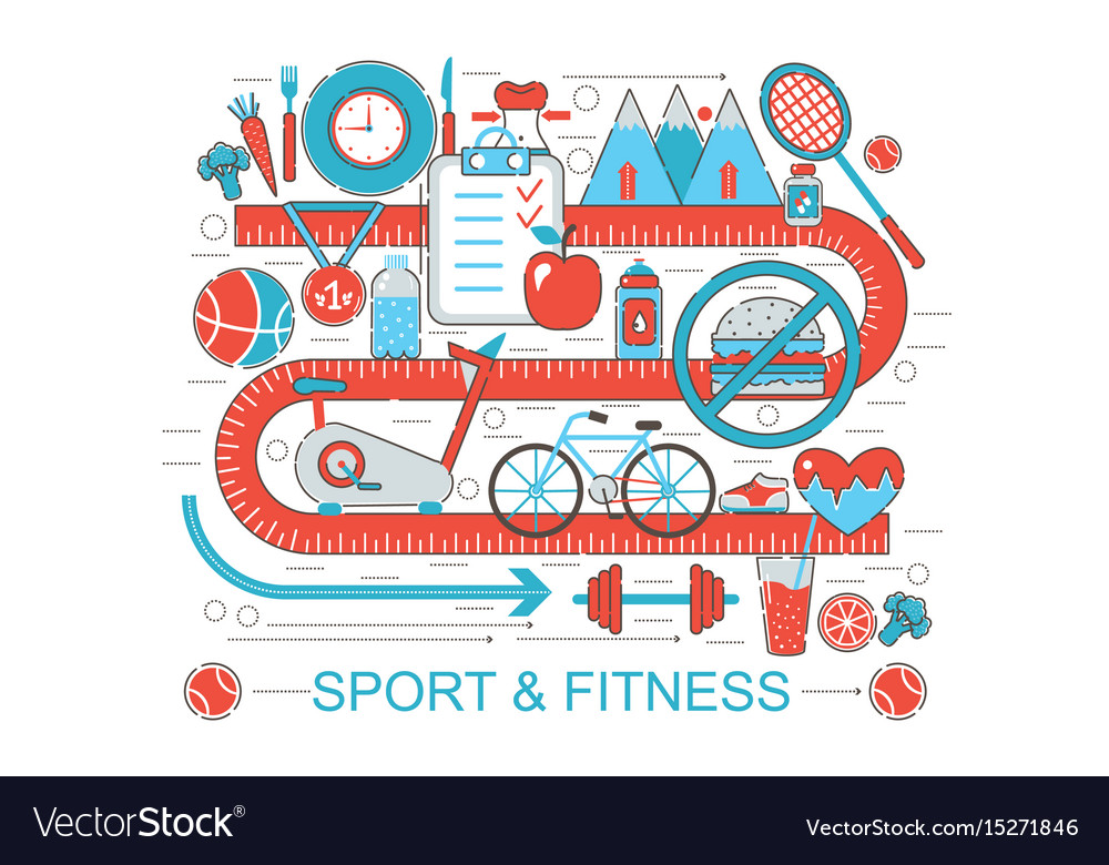 Modern flat thin line design healthy fitness and