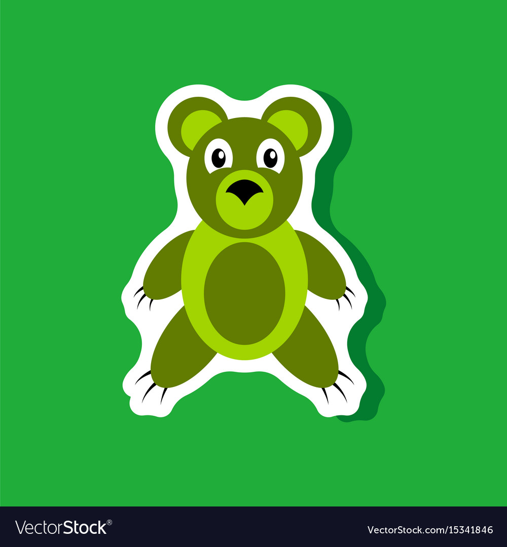 Paper sticker on stylish background toy bear