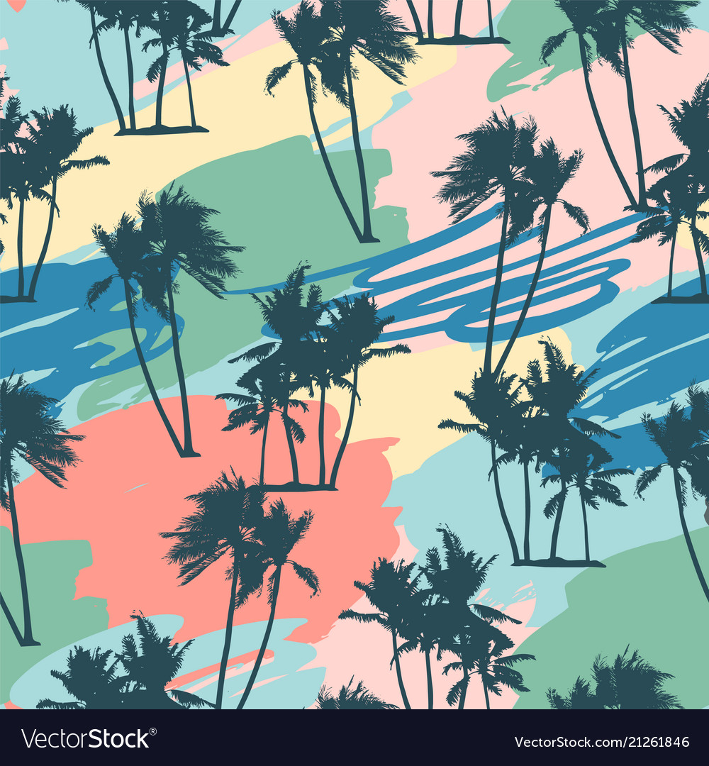 Seamless tropical pattern with palms and artistic
