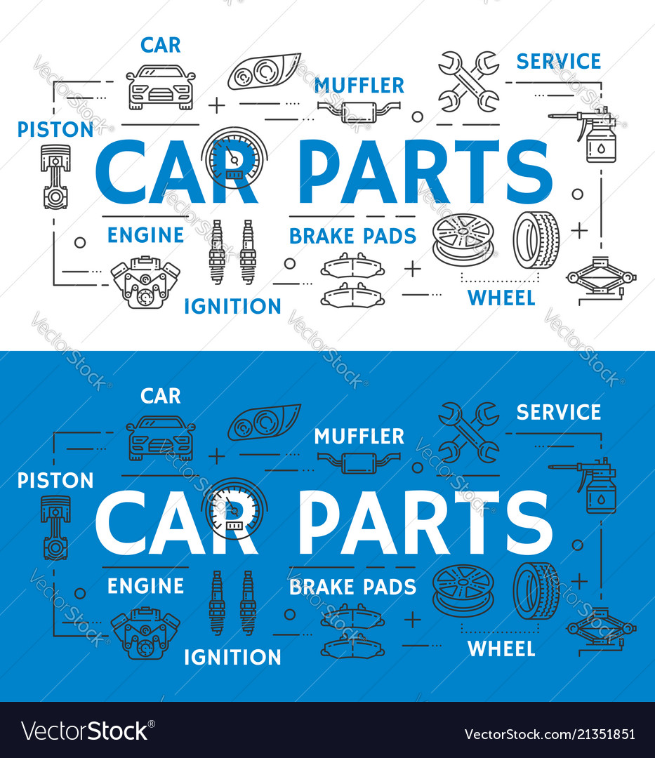 Car parts vehicle repairing line art promo poster