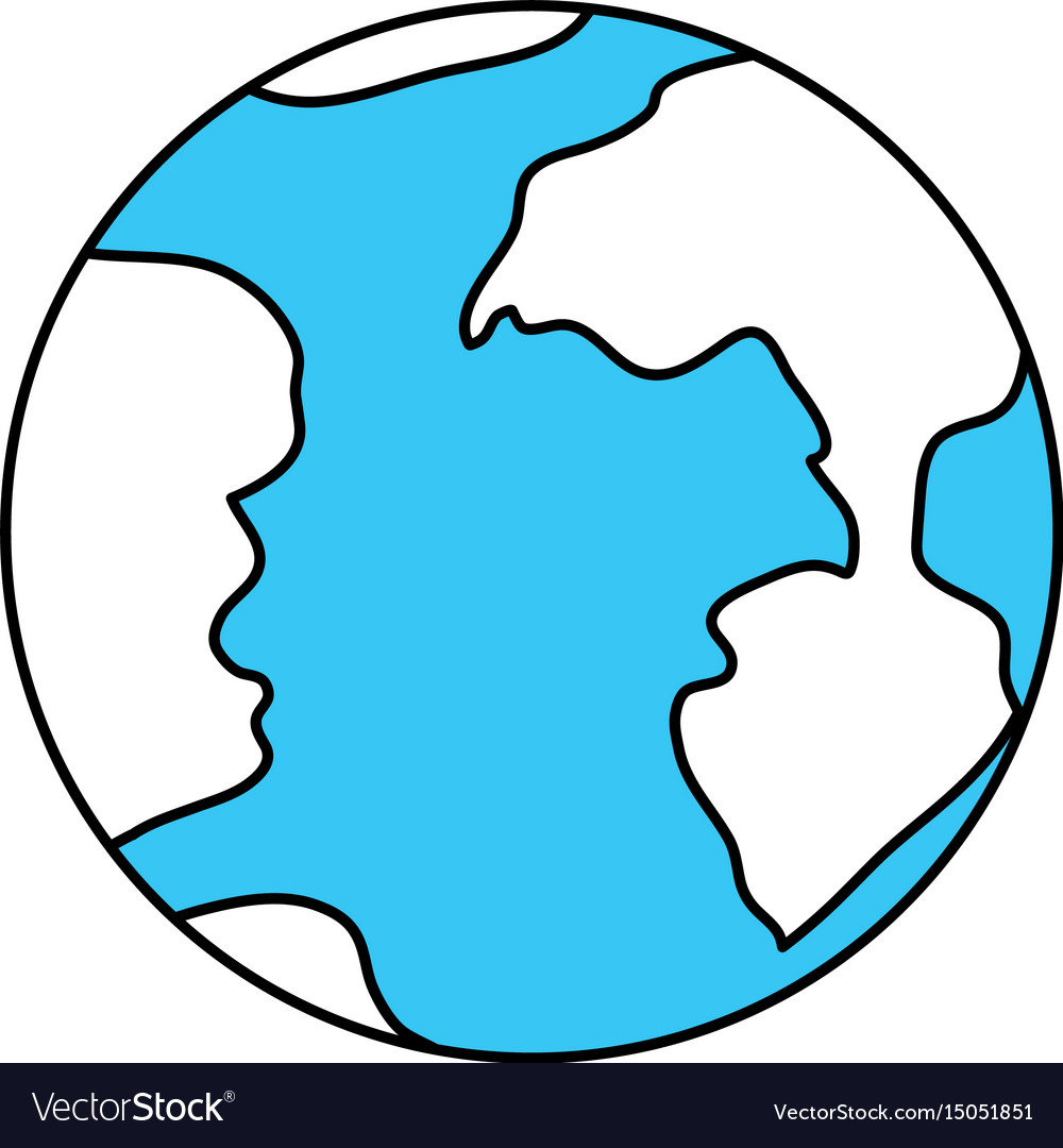 Color sectors silhouette of earth globe icon