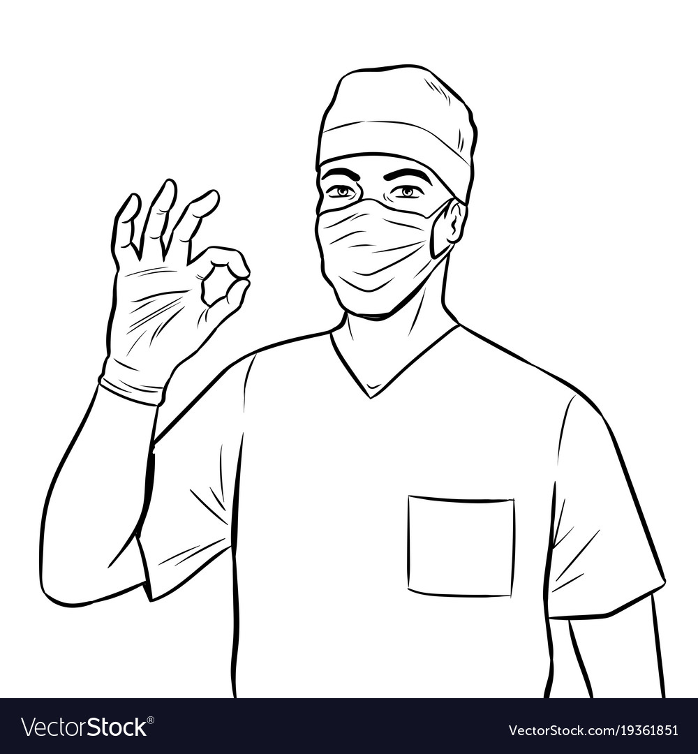 Doctor shows ok gesture coloring book vector image
