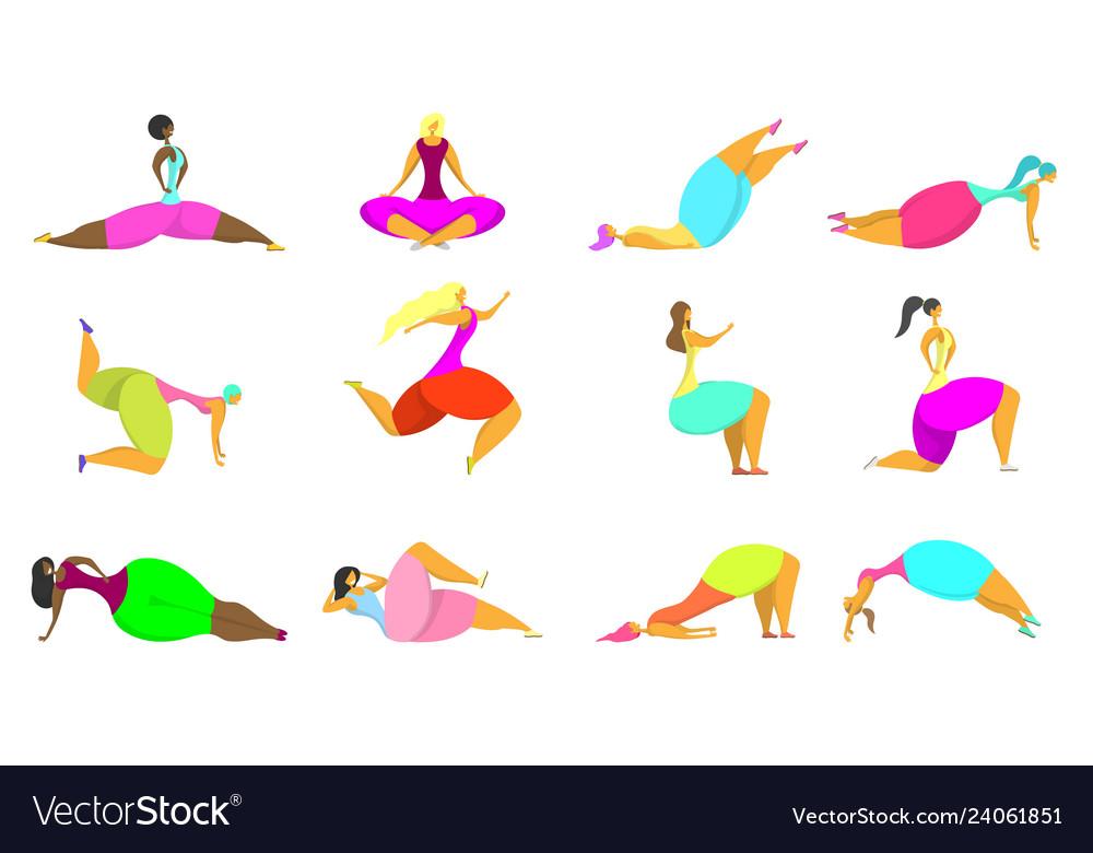 Fitness women icon set flat style design