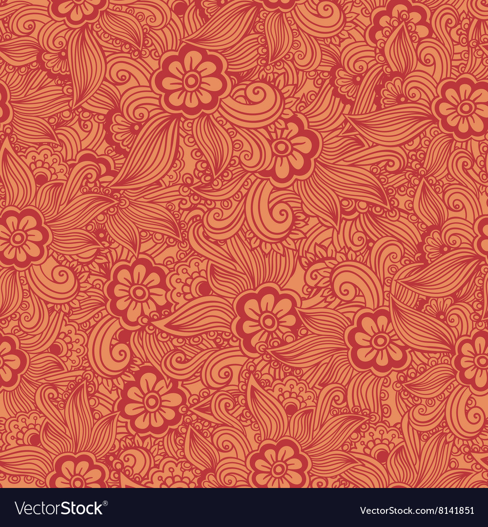 Hand drawn seamless Flower pattern Doodle style