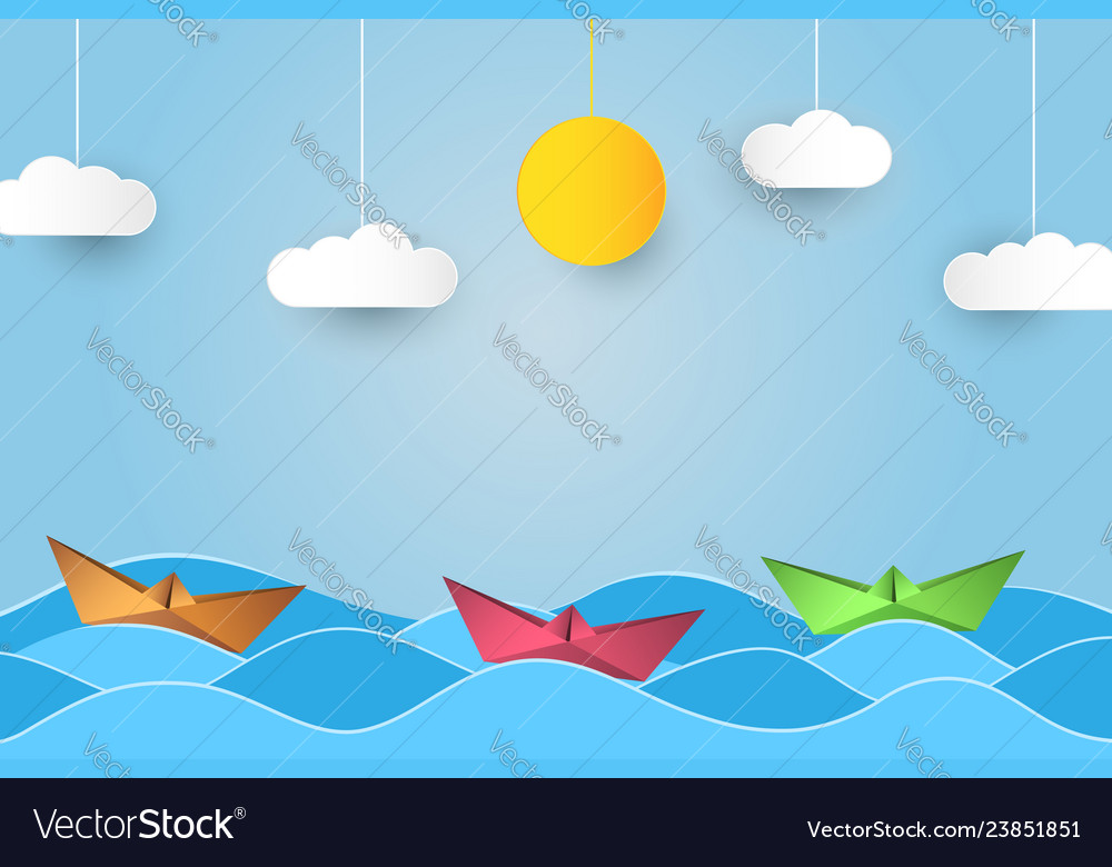 Origami sailing boat in waves paper art style