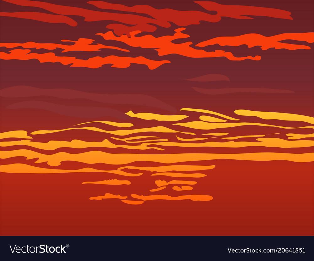 Red orange sky after sunset