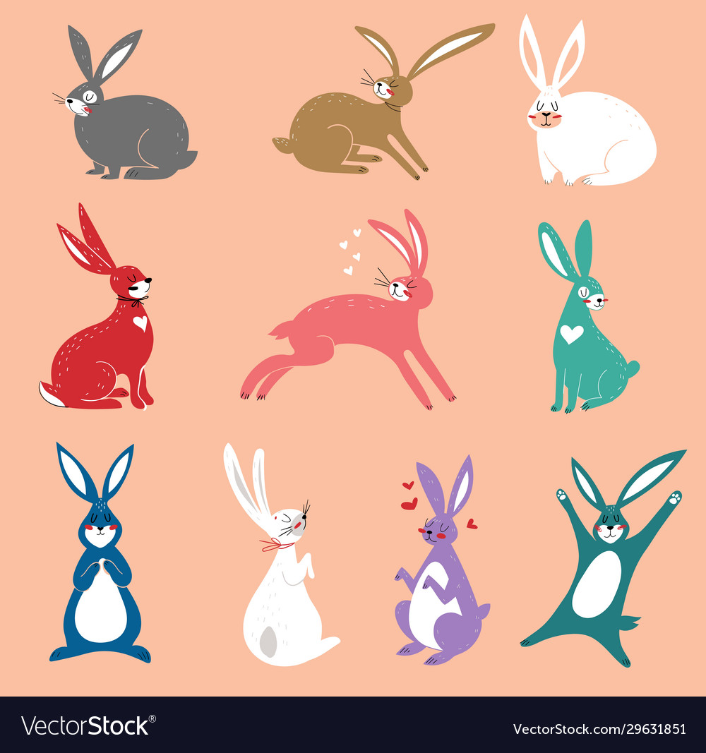 Set cute rabbits in cartoon style