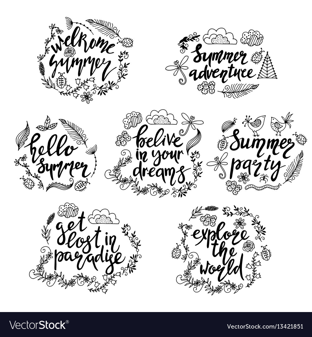 Set of hand drawn summer themed phrases