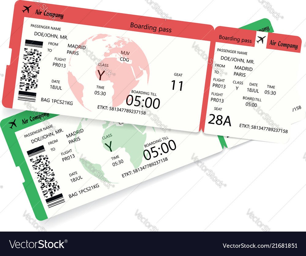 Two airline boarding pass tickets for plane