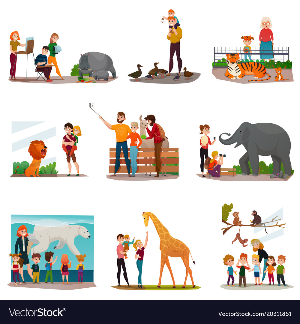 Zoo visitors set vector image