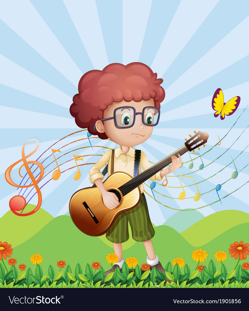 A boy with his guitar at the hills vector image