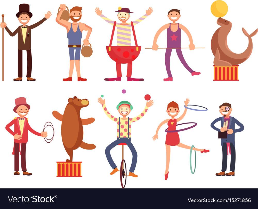 Circus artists cartoon characters set